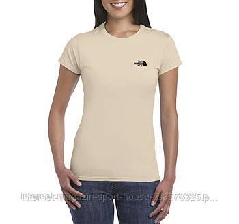 Жіноча бавовняна футболка Зе норд фейс (The North Face) з брендовим логотипом, репліка