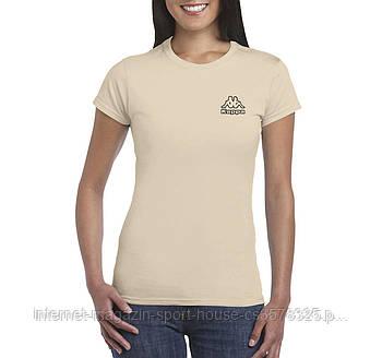 Жіноча бавовняна футболка Каппа (Kappa) з брендовим логотипом, репліка
