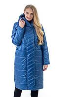 Модный голубой женский длинный плащ прямого силуэта, фото 1