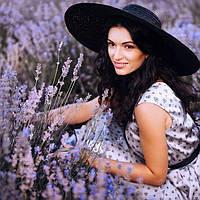 Женская черная шляпа соломенная с прямыми широкими полями 83GO375