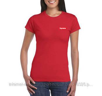 Женская хлопковая футболка Суприм (Supreme) с брендовым логотипом, реплика