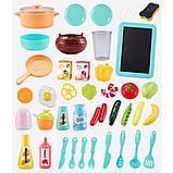 Дитяча велика інтерактивна кухня 889-183 плита, духовка звук, світло посуд продукти 43 предмета, фото 5