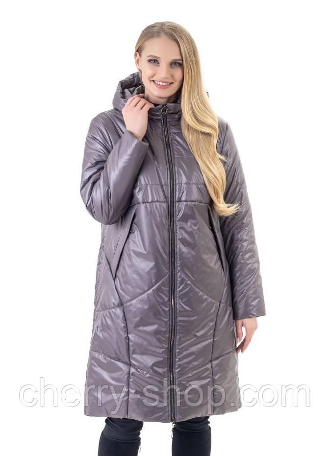 Жіноча демісезонна довга куртка сірого кольору