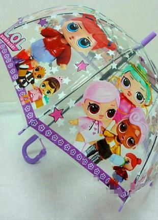 Зонт для девочек Зонтик трость детский полуавтомат прозрачный, принт Куклы Лол LOL