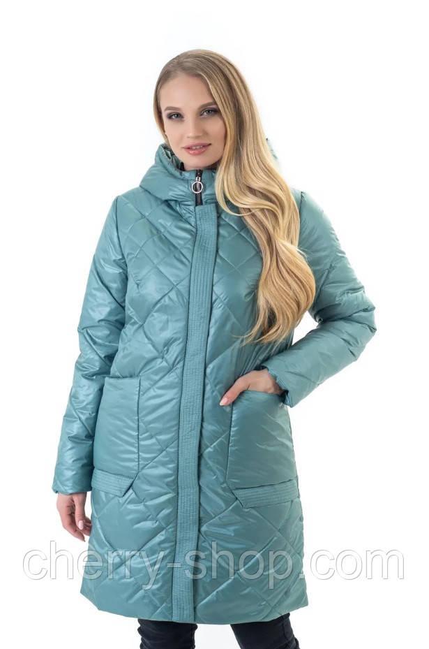 Модна жіноча куртка з капюшоном в м'ятному кольорі , розмір 44-60