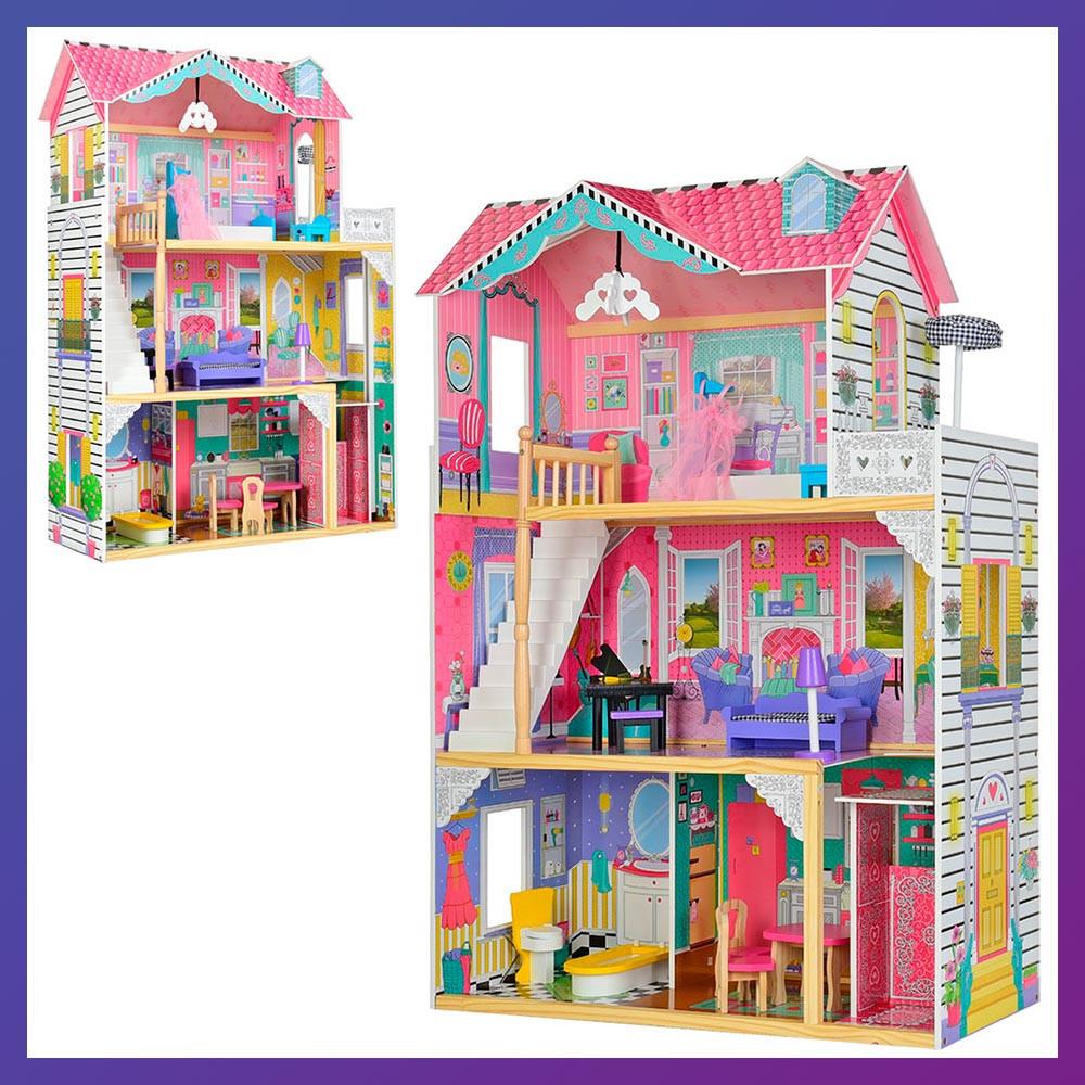 Ляльковий будиночок з меблями MD 2673 Дерев'яний 3х поверховий будиночок для ляльок