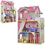 Ляльковий будиночок з меблями MD 2673 Дерев'яний 3х поверховий будиночок для ляльок, фото 2