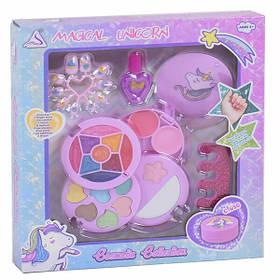 Детский набор косметики в шкатулке игровой для девочек от 3 лет с тенями и блесками Розовый (57134)