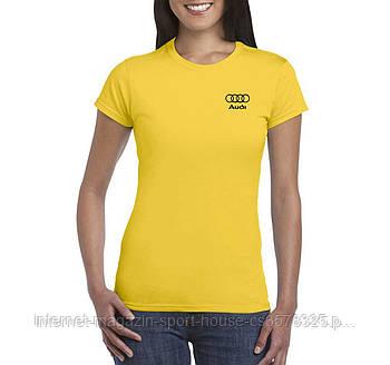 Жіноча бавовняна футболка Ауді (Audi) з брендовим логотипом, репліка