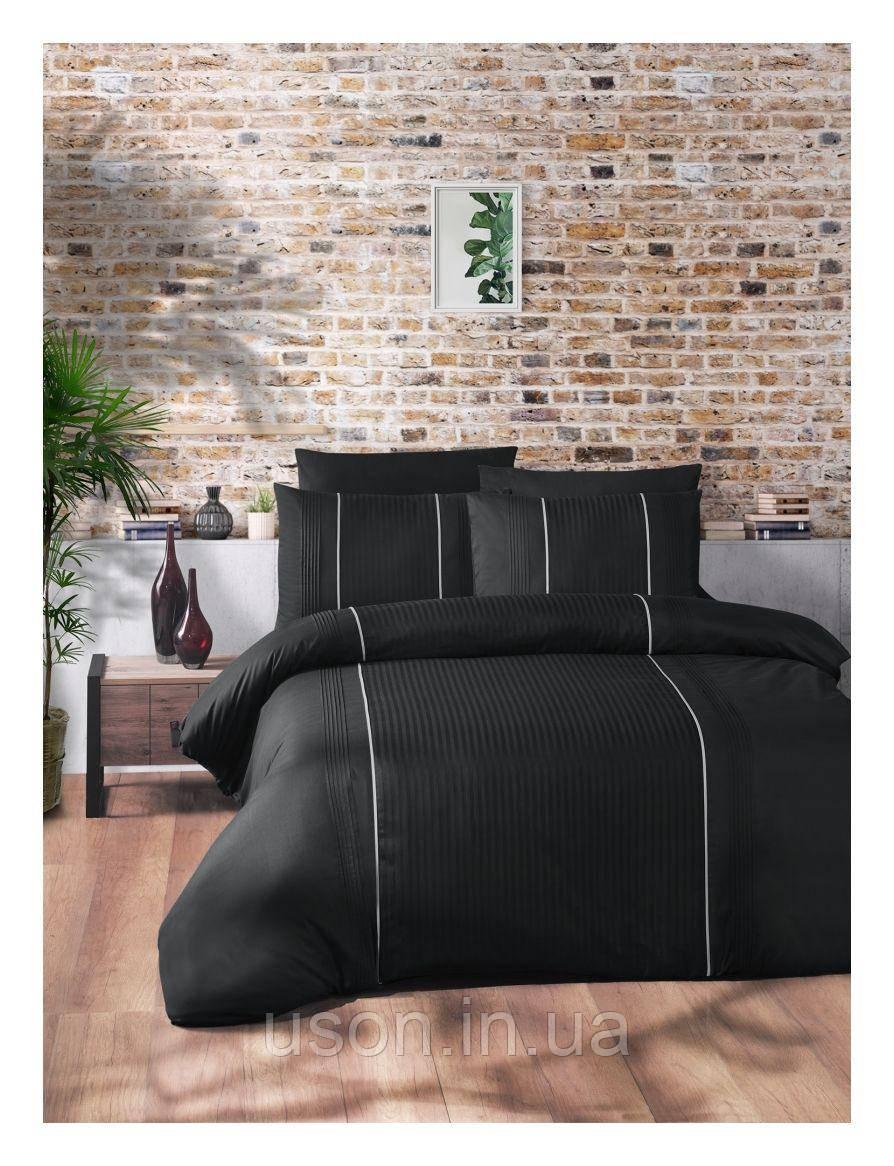 Комплект постільної білизни ранфорс delux First Choice євро розмір Elegant Dark Black Series