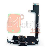 Шлейф Apple iPhone 11 Pro Max з роз'ємом зарядки і мікрофоном чорний оригінал 100%
