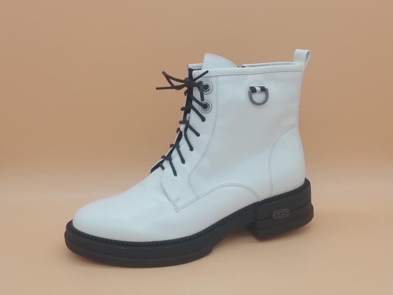 Білі шкіряні черевики. Erisses. Великі розміри ( 41 - 43).