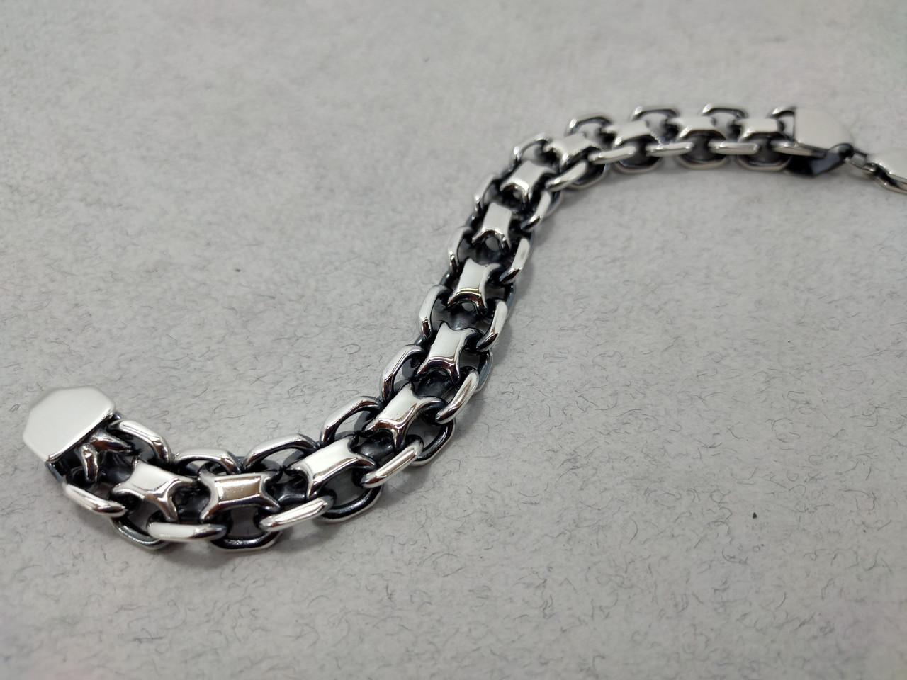 Серебряный браслет якорного плетения двойной (двойной якорь), 20 см., 61 гр.