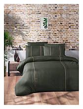 Комплект постільної білизни ранфорс delux First Choice євро розмір Elegant Dark Dark Green Series