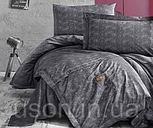 Комплект постільної білизни ранфорс de lux first choice євро розмір Jeans Gri