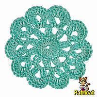Мини декор Цветок вязаный Мятный 6 см HandMade