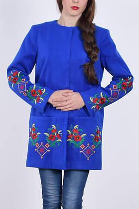"""Пальто женское с вышивкой """" Прима"""" электрик, фото 2"""