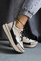 Модные женские кроссовки повседневные бежевые, из натуральной кожи 36-41р (кожаная подкладка)