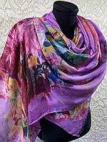 Осенний сиреневый палантин из тонкой шерсти с цветами 180х70 см (цв.2)
