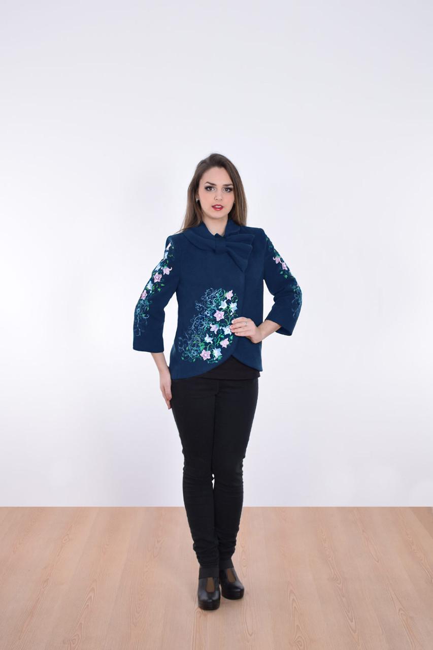 """Полу-пальто женское с вышивкой """"Велена 2""""синее"""