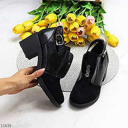 Дизайнерские черные женские туфли ботинки ботильоны на удобном каблуке 38-24,5см