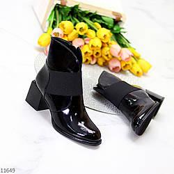 Люксовые лаковые глянцевые черные женские ботинки ботильоны на фигурном каблуке