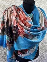 Красивый голубой палантин на плечи тонкая шерсть без бахромы 180х70 см (цв.7)