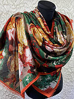 Красивый палантин с розами на плечи тонкая шерсть без бахромы 180х70 см (цв.8)