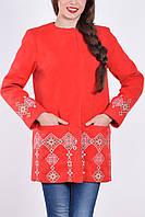 """Пальто женское с вышивкой """"Кама"""" красное"""