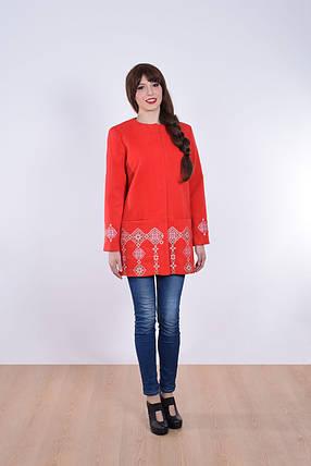 """Пальто женское с вышивкой """"Кама"""" красное, фото 2"""