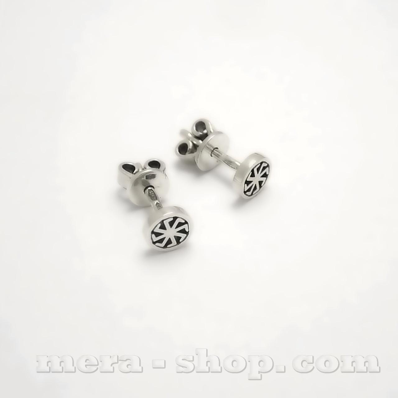 Ладинец серьги-гвоздики из серебра 925 пробы