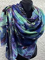 Шикарный бирюзово-синий палантин на плечи тонкая шерсть 180х70 см (цв.9)
