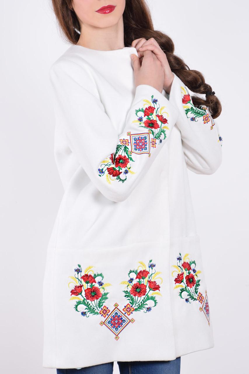 """Пальто женское с вышивкой """"Лилия""""белое"""