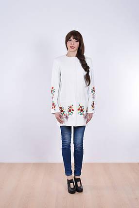 """Пальто женское с вышивкой """"Лилия""""белое, фото 2"""