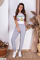 Молодежные женские брюки из двух-нитки в спортивном стиле
