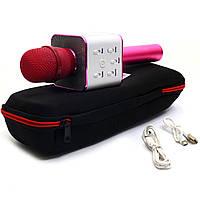 Бездротовий портативний мікрофон-колонка для караоке з чохлом Рожевий (Q7)