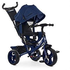Велосипед M 3113-11L три кол. EVA (12/10), колясочный, темн.син лен