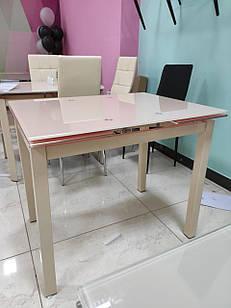 Стол стеклянный раскладной T-231-8 кремовый Vetro Mebel™