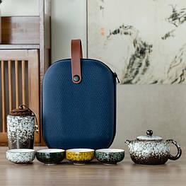 Чайний набір портативний складаний чайник, ємність для зберігання чаю, 4 чашки