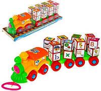 Детская Игрушка Паровоз 2366 A с кубиками буквами Shuvek
