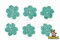 Мини декор Цветок вязаный Мятный 3 см HandMade
