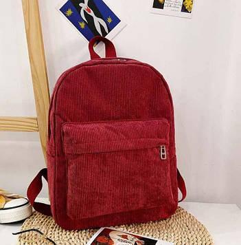 Жіночий бордовий вельветовий рюкзак код 3-425