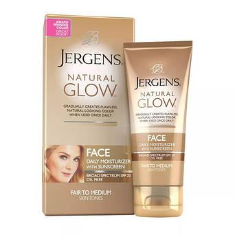 Солнцезащитный крем для лица с автозагаром Jergens Natural Glow Face Moisturizer SPF 20 Fair to Medium 59 мл