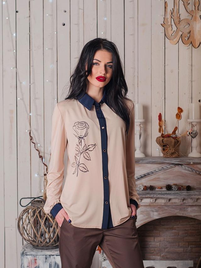 Модная женская однотонная блузка с принтом