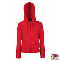 Женская куртка-толстовка с капюшоном от Fruit of the Loom красного цвета под нанесение печати и логотипа