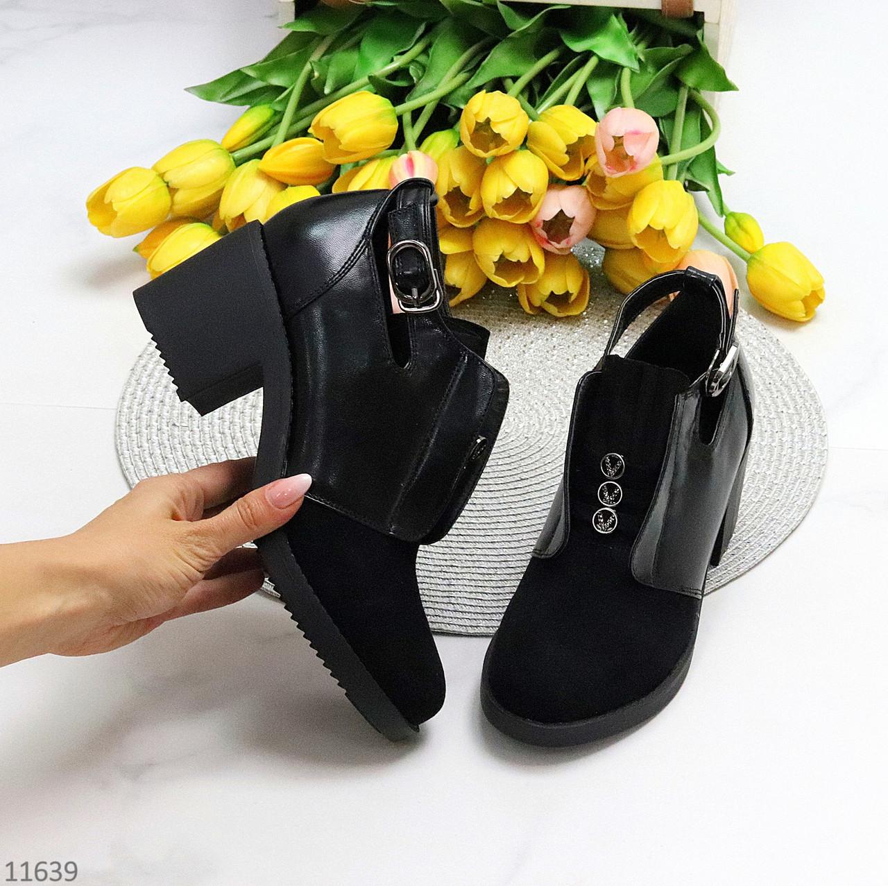 Дизайнерські чорні жіночі туфлі черевики ботильйони на зручному каблуці 38-24,5 см