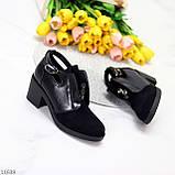 Дизайнерські чорні жіночі туфлі черевики ботильйони на зручному каблуці 38-24,5 см, фото 2