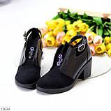 Дизайнерські чорні жіночі туфлі черевики ботильйони на зручному каблуці 38-24,5 см, фото 3