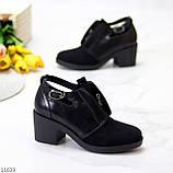 Дизайнерські чорні жіночі туфлі черевики ботильйони на зручному каблуці 38-24,5 см, фото 4