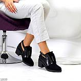 Дизайнерські чорні жіночі туфлі черевики ботильйони на зручному каблуці 38-24,5 см, фото 5